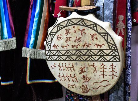 Shamanic tambourine. Shaman drum. For rituals and rites. Stock Photo