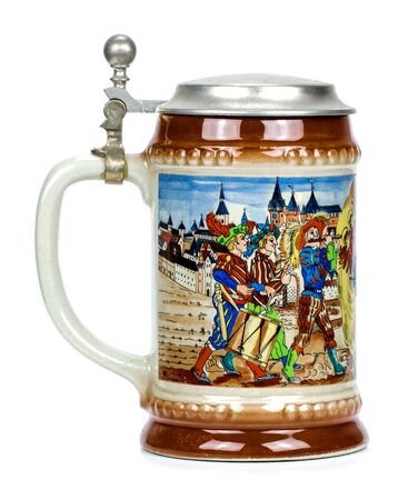 Porcelain Bavarian beer mug isolated on white