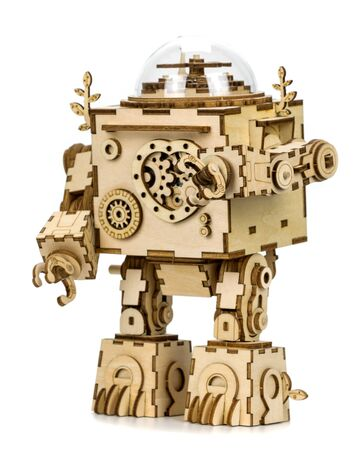 Vintage wooden robot on a white background Standard-Bild
