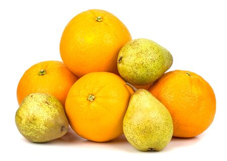 oranges and pears on a white background