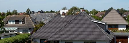tiled roofs of houses. Germany