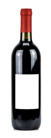 bottle of red wine on a white background.