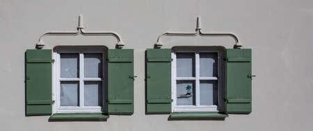 two windows in a stone house 版權商用圖片