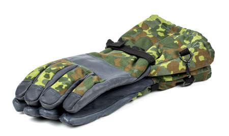 soldier gloves on white background