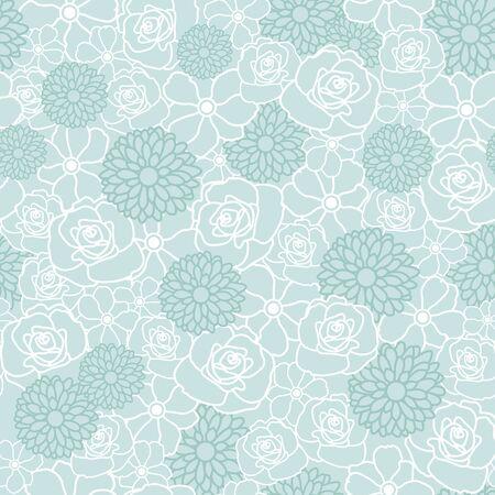 Blumenvektor-Wiederholungsmuster mit weißen und grünen Blumen. Einer der Vektorgrafik