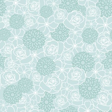 Floral Vector Repeat Pattern with White and Green Flowers. One of the