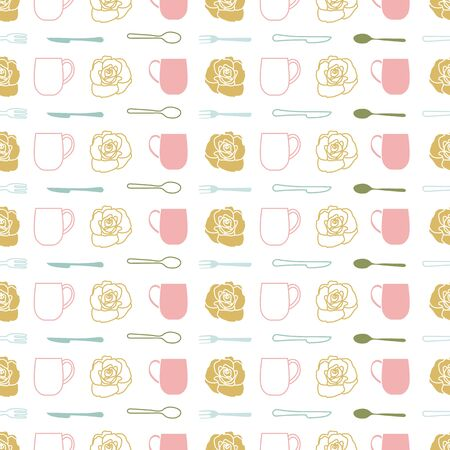 Regular Repeat Vector Pattern with Teacups and Flowers on White Background. One of the Tea Garden Party collection patterns. Illusztráció