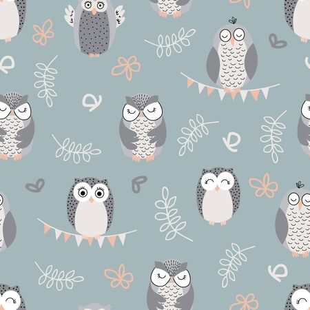 Repeat pattern with cute owls on green background