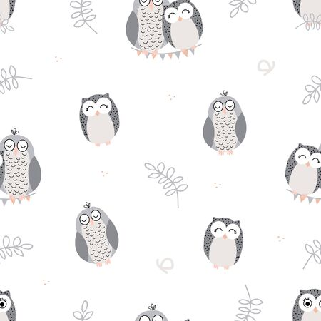 Vector repeat pattern with cute sleeping owls