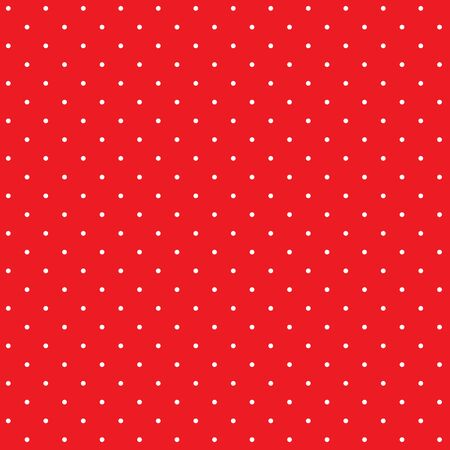 Retro pattern with white small polka dots on red
