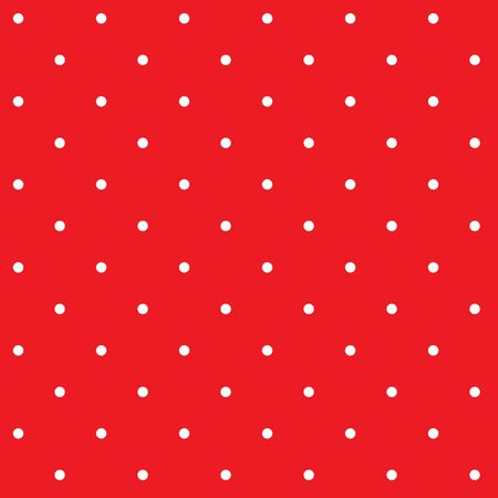 Retro pattern with white classic polka dots on red