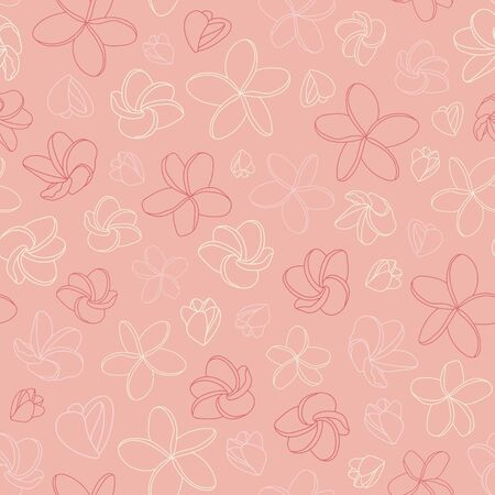 Romantic pink vector pattern with plumeria flowers