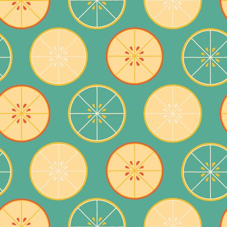 Retro vector repeat pattern with halves of oranges Stock Illustratie