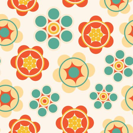 Retro vector pattern with colorful geometric flowers