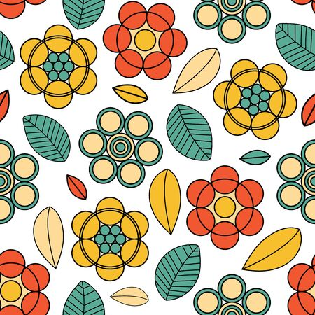 Folk vector pattern colorful flowers and leaves