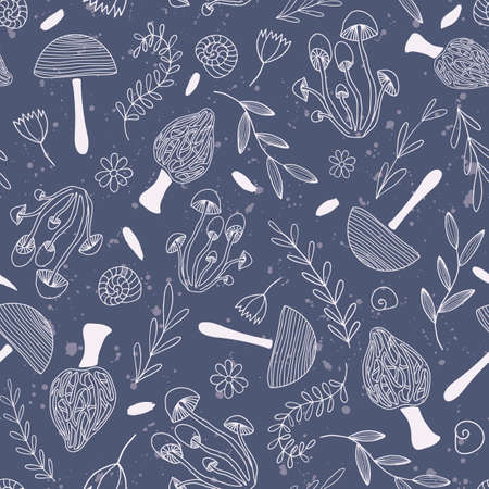Cute vector repeat pattern with light pink mushrooms and flowers on dark blue background. Illustration