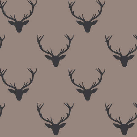 Horizontally aligned vector repeat pattern with dark grey silhouettes of deer heads on brown background.