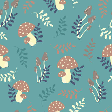 Vector repeat pattern with cute mushrooms and leaves on green background. Vetores