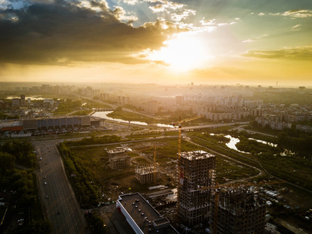 Aerial drone panoramic view of new residential area building, sunny evening after the rain in Chelyabinsk city, Russia Archivio Fotografico