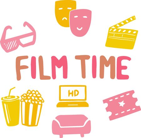 Vector illustration of cinema online poster. Movie theater symbols, clapperboard, popcorn, 3D glasses, seat, tickets, laptop, camera. Online film. Word: watch, animation, motion, entertainment.