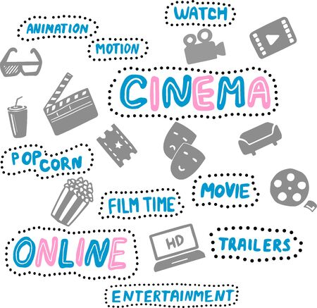Online cinema hand drawn illustrations set. Design elements. Handwritten lettering. Film time, movie, accessories. Pop corn and cola Illustration
