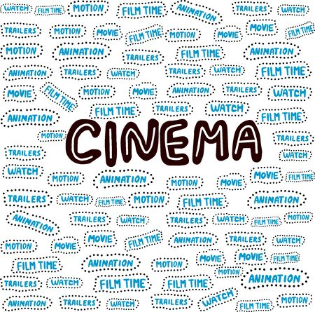 Blue word collage on white background