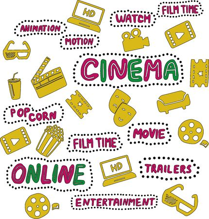 Online cinema hand drawn illustrations set. Design elements in pink, yellow and green color. Handwritten lettering. Film time, movie, accessories. Pop corn and cola, 3d glasses, ticket, seats, mask
