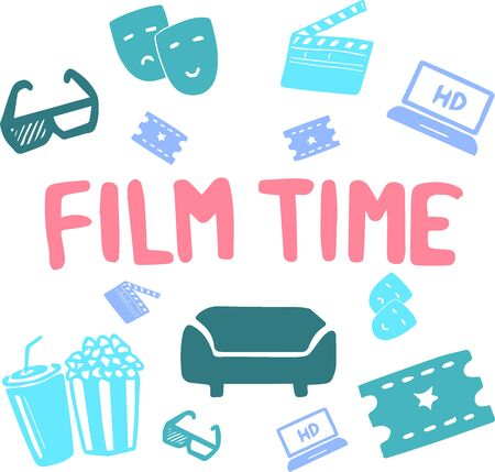 Hand drawn doodle cinema set. Vector illustration. Movie icons. Film symbols collection. Cinematography freehand elements: camera, film tape, photo camera, popcorn, projector, sofa, ticket, cola