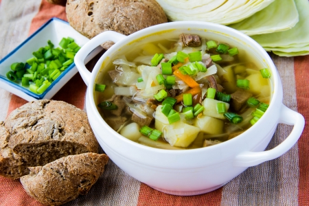 Soup with beef and cabbage