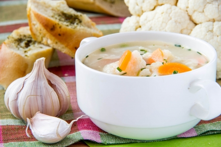 Vegetable soup with cauliflower and carrots