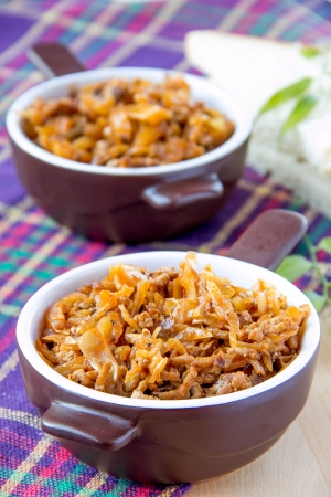 Stewed cabbage with meat in cups Stock Photo - 18264830