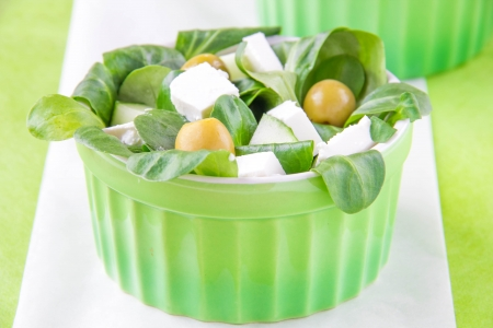 cornsalad: Green greek salad with olive, corn and feta  Stock Photo