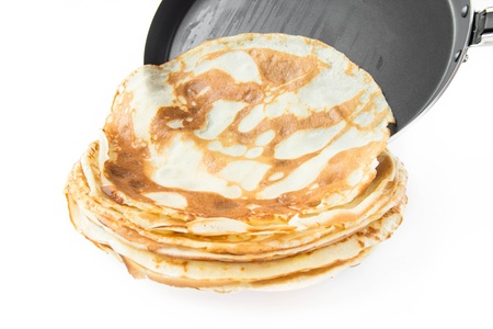 pancake week: Traditional Russian pancakes from the frying pan on plate Stock Photo
