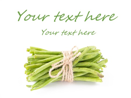 leguminous: A bunch of fresh leguminous green beans on white background for your text