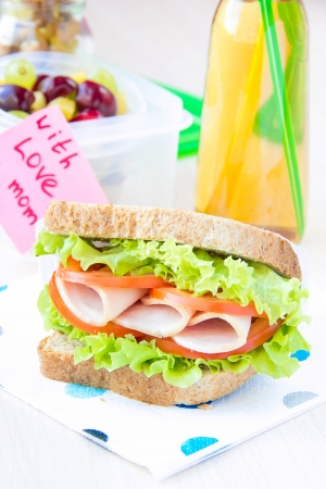 Bento lunch for your child in school, box with a healthy sandwich and fruit salad and apple juice in the bottle for drinking 版權商用圖片