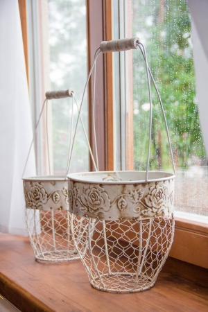 Nice metal baskets for flowers on the windowsill house, design Provence photo