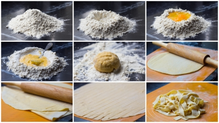 Collage of cooking homemade pasta tagliatelle