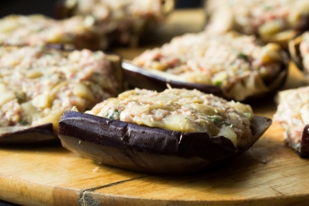 Eggplants stuffed with meat and vegetables, traditional Italian dish 版權商用圖片