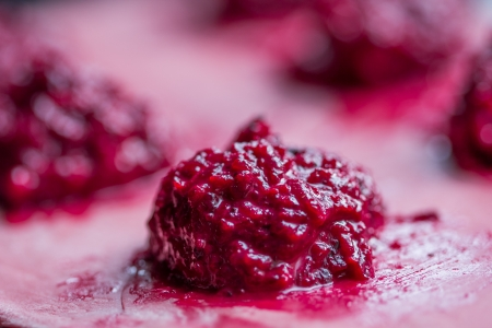 Cooking homemade pasta ravioli with beetroot stuffed photo