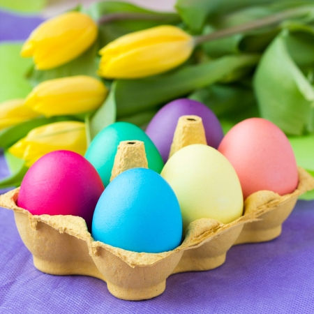 flowers beautiful: Colorful easter eggs in packing box with tulips flowers
