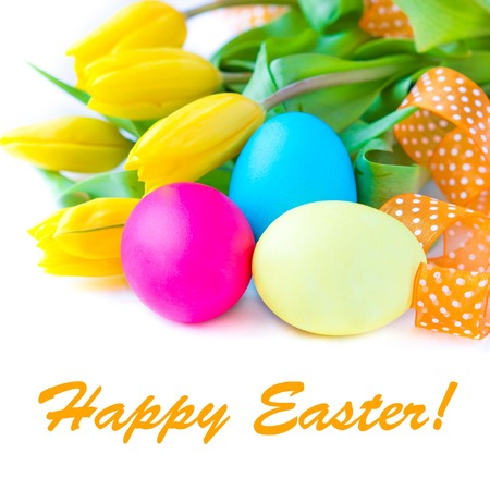 Painted Colorful Easter Eggs on white background with sample text photo