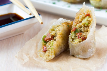 Asian spring rolls stuffed with quinoa, vegetables, crisp, tasty dish