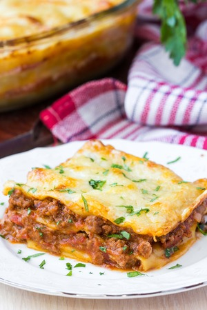 Homemade lasagna with Bolognese meat sauce Bechamel, tasty dish