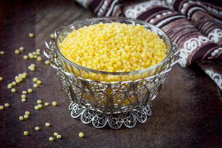 israeli: Israeli couscous ptitim, unprepared, dry, healthy cereals, tasty diet ingredient