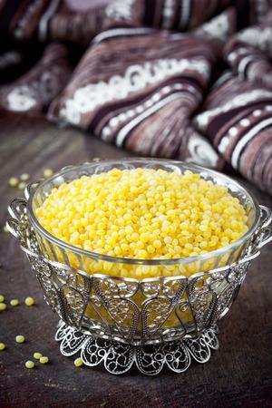 unprepared: Israeli couscous ptitim, unprepared, dry, healthy cereals, tasty diet ingredient