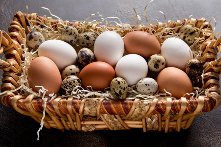 Different eggs in the basket, white, dark, quail and chicken. Easter holiday