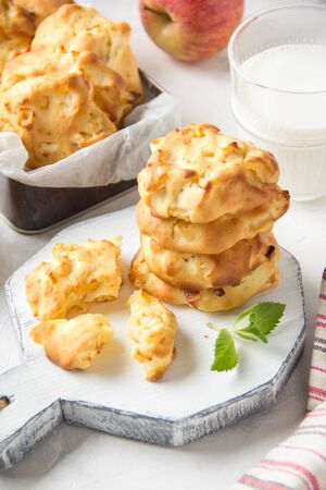 Homemade apple cookies with milk and mint, soft and tender biscuits. Summer dessert, autumn food, breakfast for children, sweet snack
