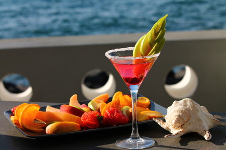 aperitif: Fresh Aperitif on the beach Stock Photo