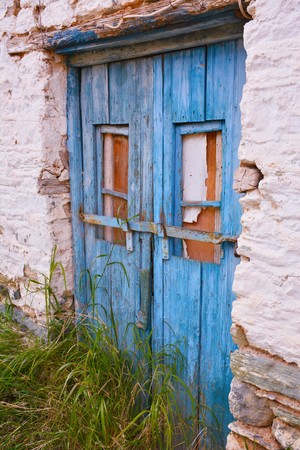nowhere: ? door in a ramshackle house in the middle of nowhere Stock Photo