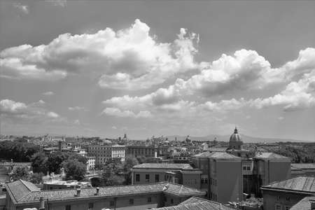 Panorama of Rome, in the center the altar of the fatherland. Black white photo.